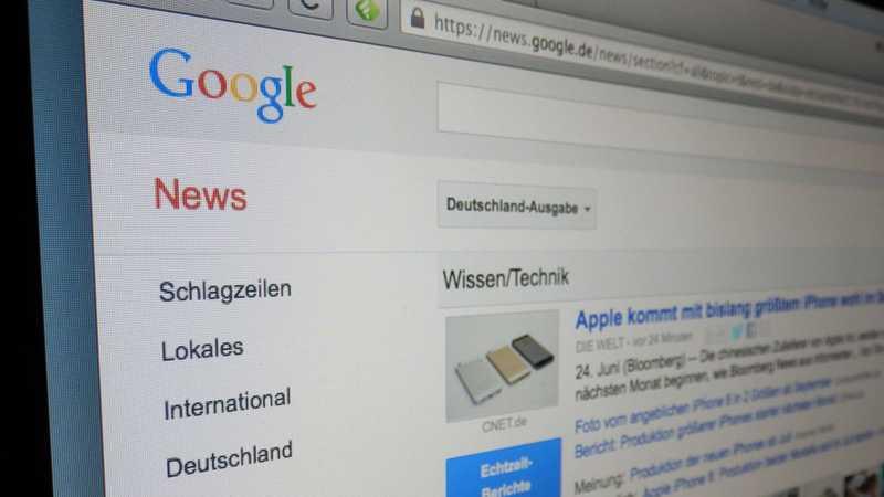 Google News auf einem Bildschirm