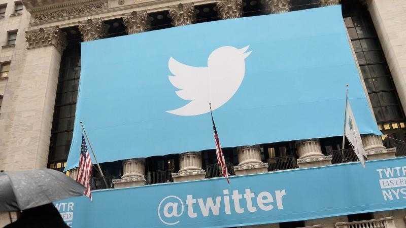 Twitter-Plakat auf der NYSE