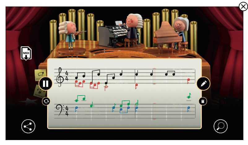 Mit Googles Doodle zum Geburtstag von Johann Sebastian gibt der Nutzer nur die (schwarzen) Noten für die erste Stimme vor; die restlichen drei stammen aus einer KI.