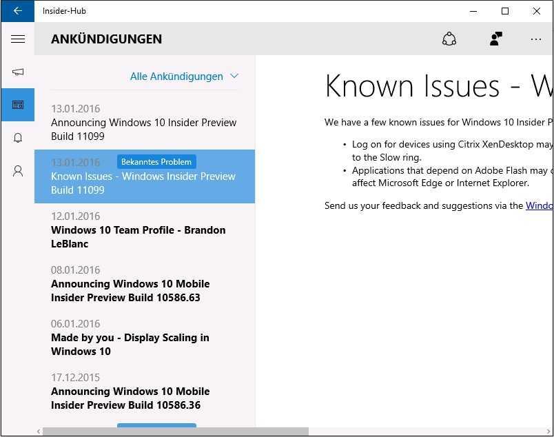 """Die Liste der """"Known Issues"""" der neuen Vorabversion lässt sich nur in der App """"Insider Hub"""" lesen."""