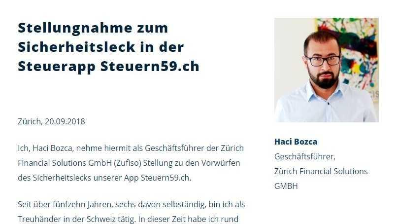 Steuern59.ch: Geschäftsführung entschuldigt sich für Datenleck
