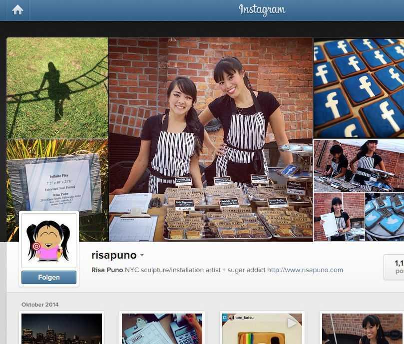 Instagram-Seite von Risa Puno