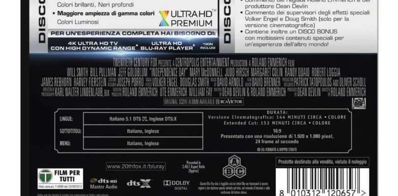 """Ein Bild bei Amazon Italien, das die Rückseite der kommenden UHD-Blu-ray-Fassung von """"Independance Day"""" zeigt, ließ bereits darauf schließen, dass 20th Century Fox Home Entertainment künftig Titel mit DTS:X-Ton veröffentlicht."""