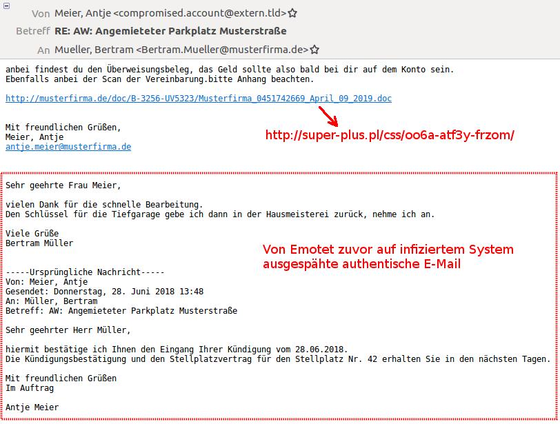 Emotet tut alles, um seine Dynamit-Phishing-Mails möglichst echt aussehen zu lassen.