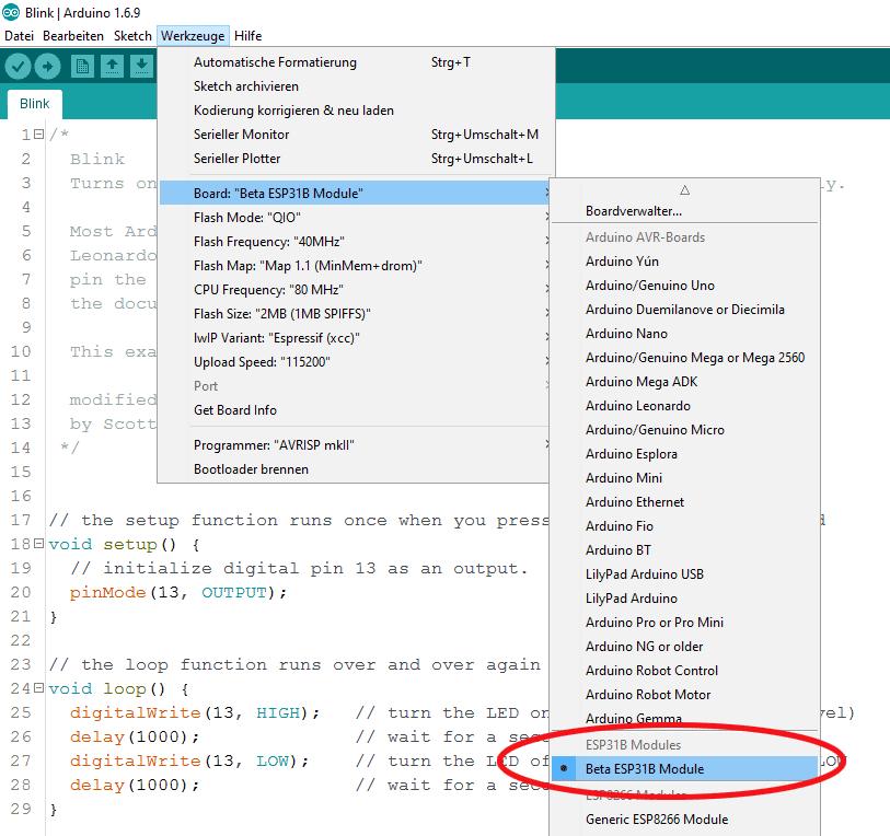 Github-Repository klonen und schon ist der ESP32 (beziehungsweise die Beta-Version 31B) in die Arduino IDE integriert