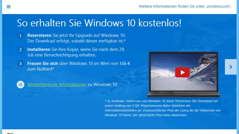Reservierungsprogramm für Windows 10