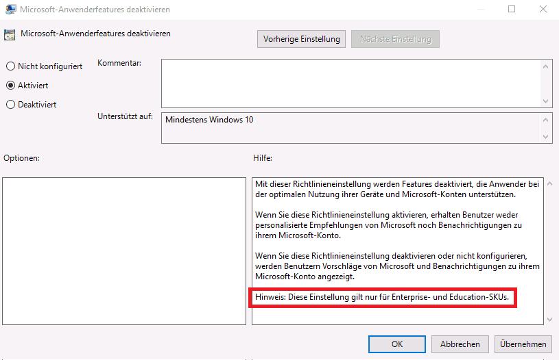 Für welche Editionen von Windows 10 eine Gruppenrichtlinie gilt, muss man im Kleingedruckten nachlesen.