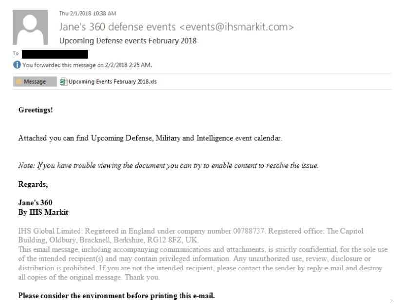 Eine Spearphishing-Email von APT28 die bei der rumänischen Botschaft in Moskau einging.