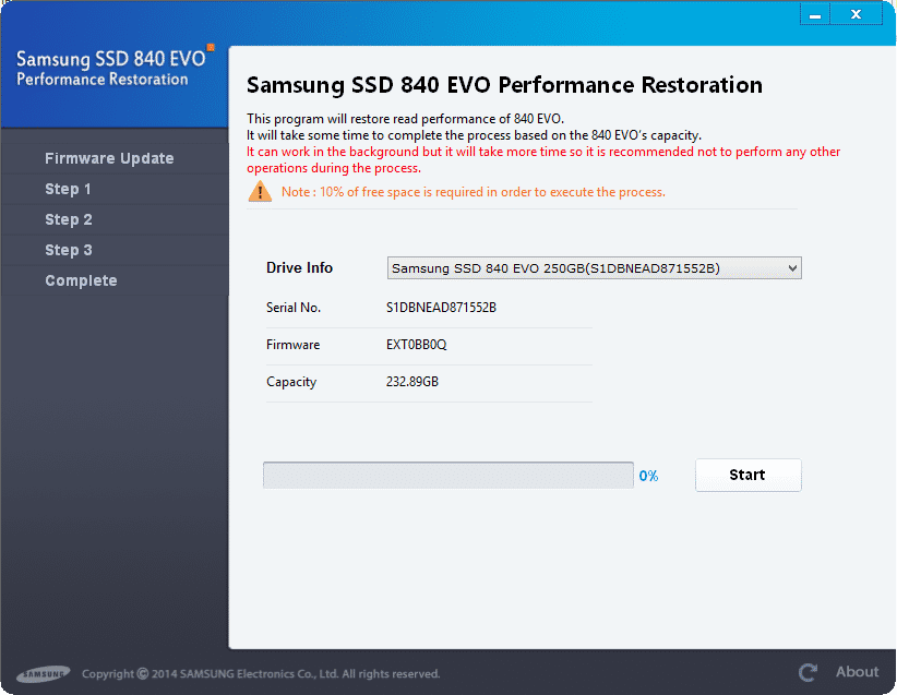 Die Performance-Restauration-Software von Samsung warnt, dass der Update-Prozess einige Zeit in Anspruch nehmen wird.