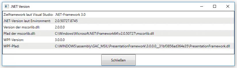 Ein simples .NET-Programm für WPF zeigt, ob die .NET-Umgebung beschädigt ist.