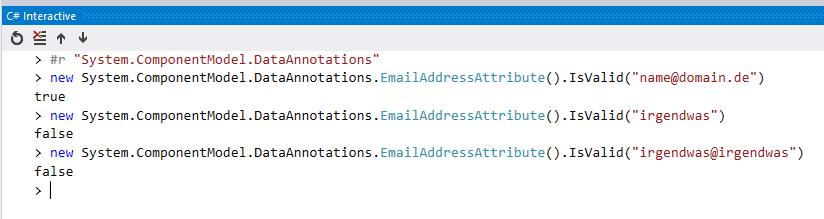 Einfaches überprüfen in .NET/C# , ob eine E-Mail-Adresse richtig aufgebaut ist