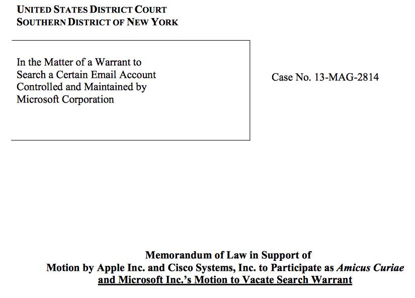 Als Amicus Curiae haben sich nun Apple und Cisco zu Wort gemeldet