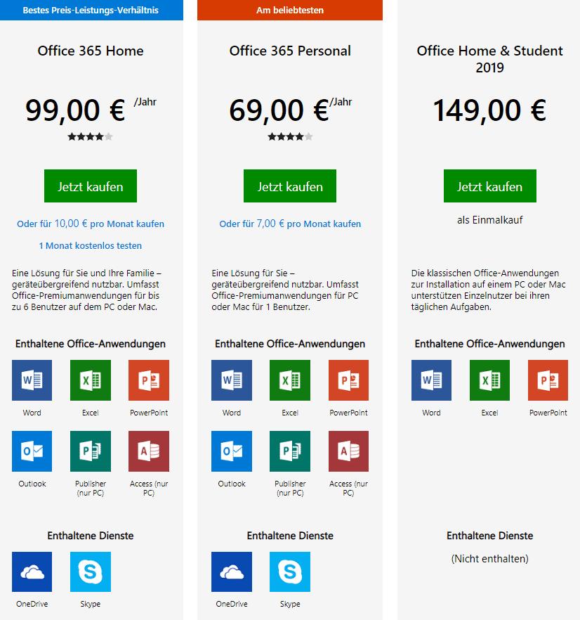 Microsoft-Preisübersicht zu Office 365/2019