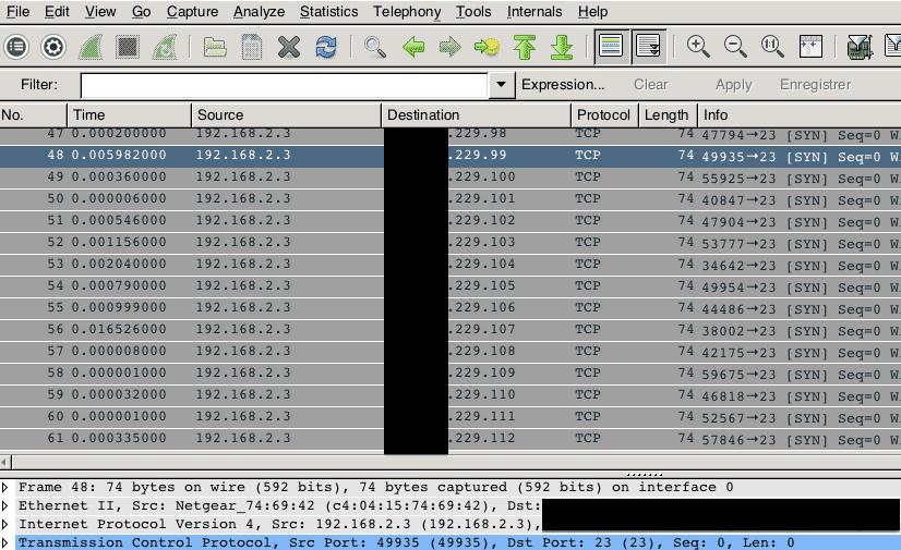 Die Mindstorms-Steuerung scannt agressiv auf dem Telnet-Port 23.