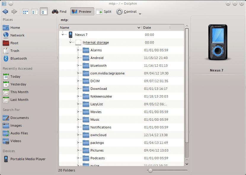 Dateimanager Dolphin: Besserer Zugriff auf externe Geräte per MTP.