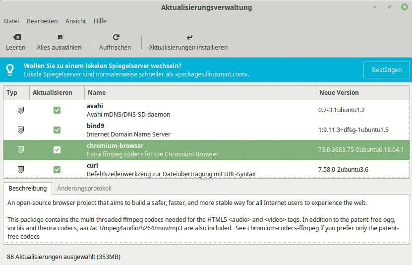 Die Aktualisierungsverwaltung hält das Linux-System und die installierten Anwendungen aktuell.