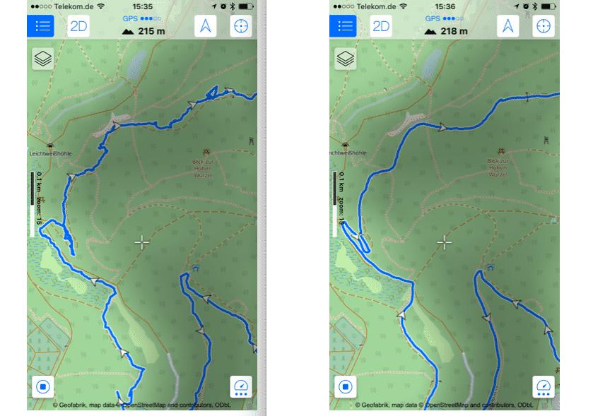 Der vom iPhone 7 erfasste Streckenverlauf (links) im Vergleich mit der Aufzeichnung einer GPS-Uhr (rechts).