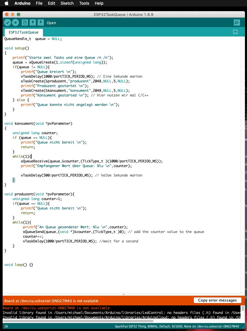 Arbeiten mit der Arduino IDE