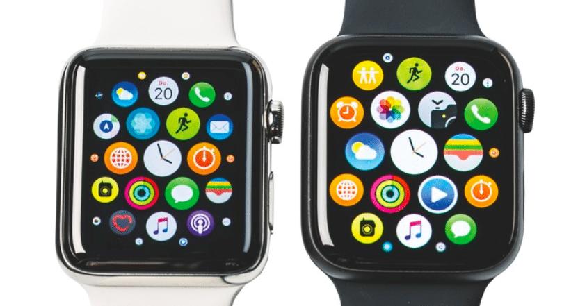 Das Display der Apple Watch Series 4 (im Bild rechts) ist nicht nur größer, sondern auch farbkräftiger und wirkt heller.