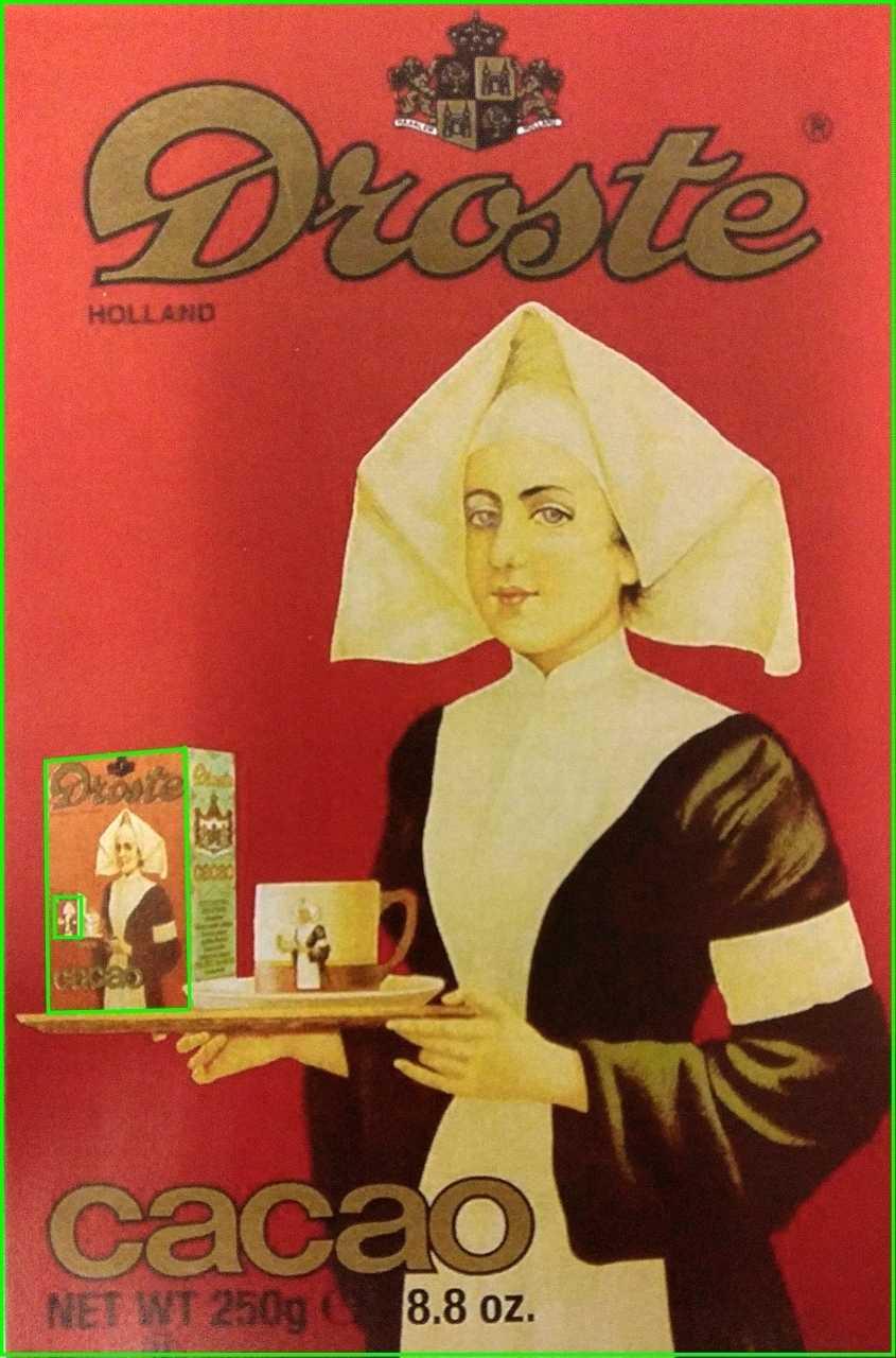 """Der Droste-Effekt ist nach der niederländischen Firma """"Droste"""" benannt, die den rekursiven Bild-in-Bild-Effekt auf ihren Kakao-Packungen verwendete."""