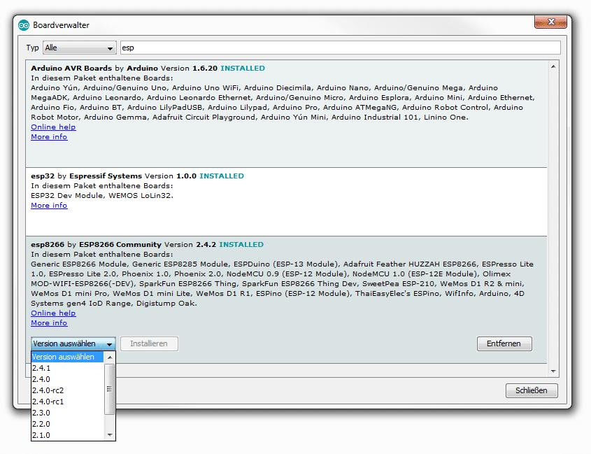 ESP in Arduino IDE einbinden: Screenshot der Versionsauswahl im Boardverwalter