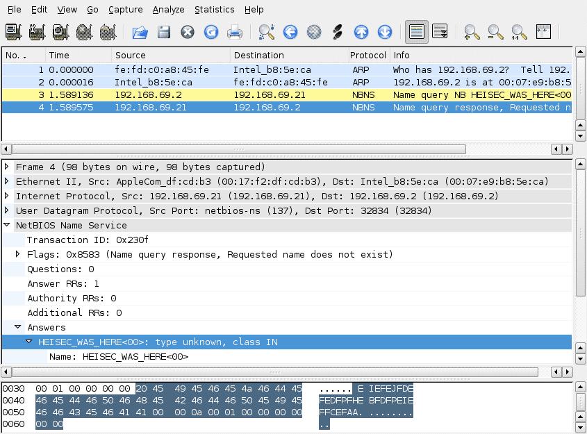 Sniffer mit Netbios-Paketen