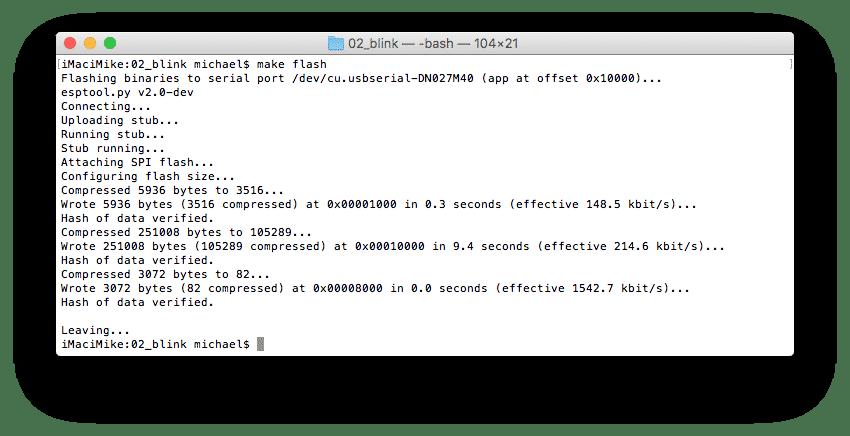 Flashen einer Anwendung funktioniert in IDF über make flash