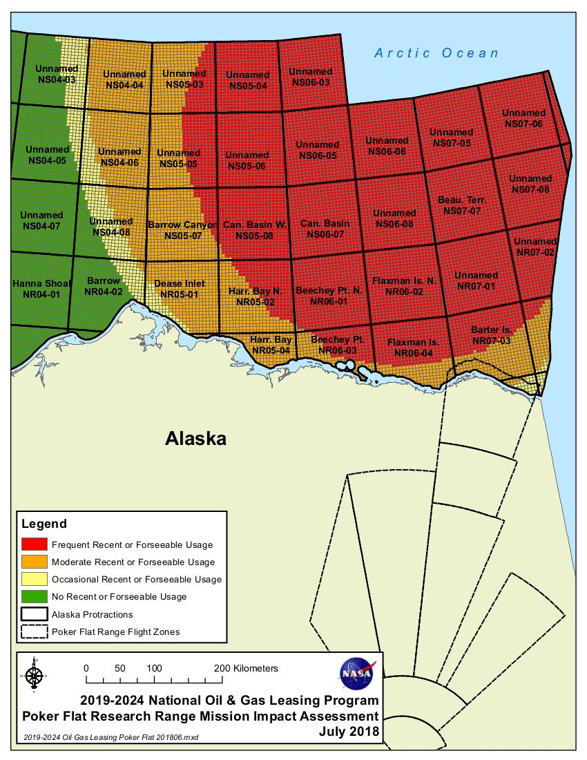 So schätzt die NASA den Gefahrenbereich in der Beaufortsee nördlich Alaskas ein.