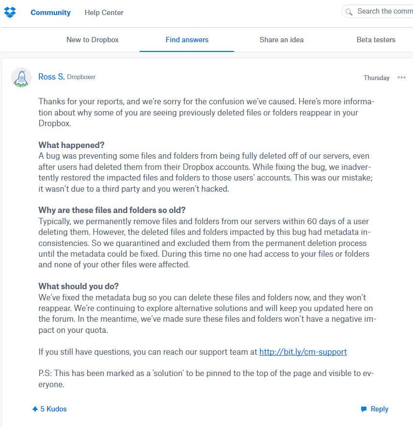Dropbox-Bug: Gelöschte Dateien in Nutzerkonten zurückgekehrt