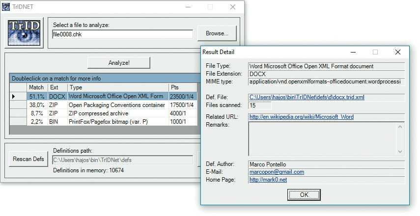 Kostenlos und zuverlässig: TrIDNet beruft sich auf riesige Datenbank von mehr als 11.000 Signaturen – so wird der Dateityp Ihrer Datei anhand von typischen Byte-Mustern erkannt.