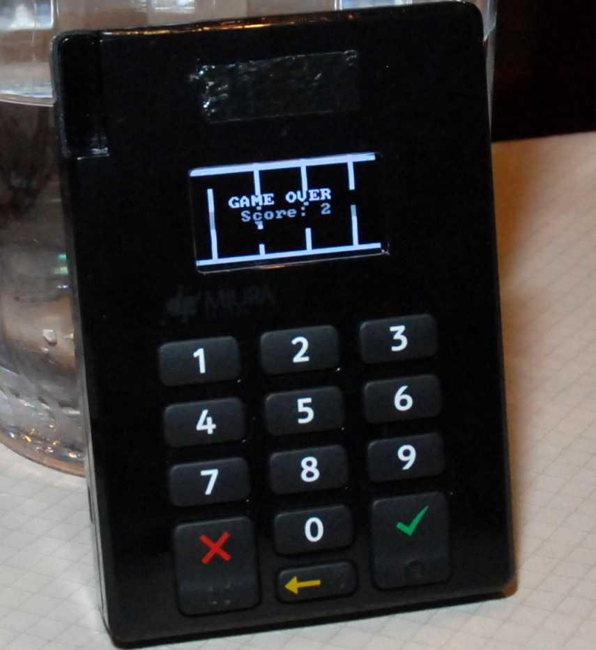 Flappy Bird auf dem Kreditkartenterminal