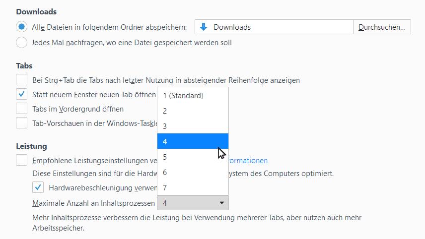 """In den Einstellungen von Firefox kann der Nutzer unter """"Leistung"""" die Anzahl der Content-Prozesse erhöhen. Sinnvoll ist das, wenn im PC mehr als 8 GByte RAM stecken, sagt Mozilla."""