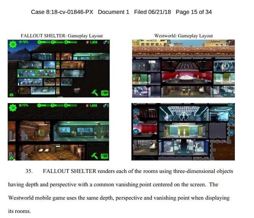Screenshot aus der Klageschrift: links Fallout Shelter, rechts Westworld. Die Bethesda-Anwälte beschreiben in der Klageschrift detailliert, welche Elemente aus ihrer Sicht kopiert worden sind.