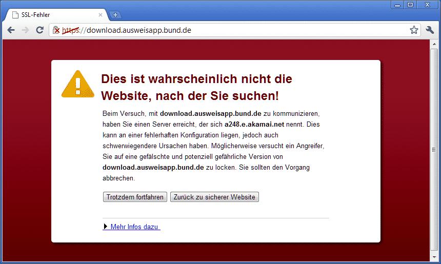 Chrome erkennt falschen Server