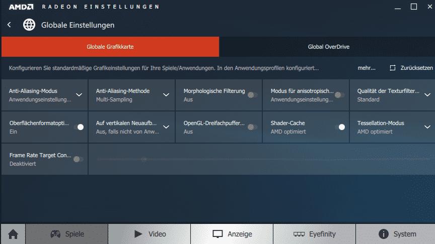 """Die neue Grafiktreiber-Oberfläche """"Radeon Einstellungen"""" ist übersichtlicher als das alte Catalyst Control Center."""
