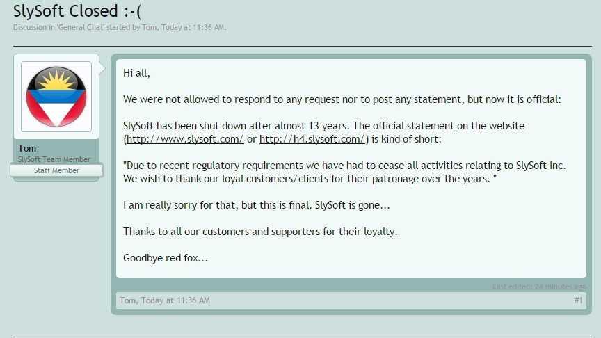 Es scheint sich zu bestätigen, dass die Filmindustrie SlySoft nach 13 Jahren tatsächlich niedergerungen hat.