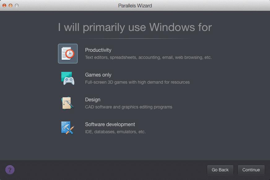 """Der neue """"Parallels Wizard"""" soll Windows-VMs besser an die jeweilige Nutzung anpassen."""