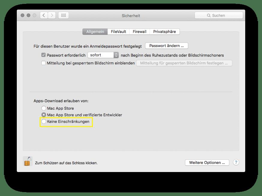 """Bis hin zu OS X 10.11 können Nutzer """"Keine Einschränkungen"""" für App-Downloads wählen ? diese Option fehlt derzeit in macOS 10.12"""