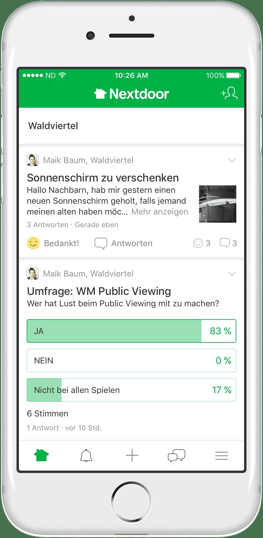 Neben der Website nextdoor.de gibt es auch eine mobile App für Android und iOS.