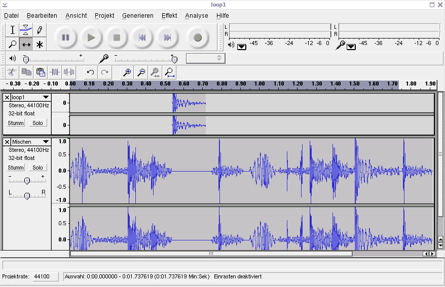 Audacity: Zwitter zwischen Audio-Editor und Mehrspur-Recorder (zum Vergrößern anklicken).