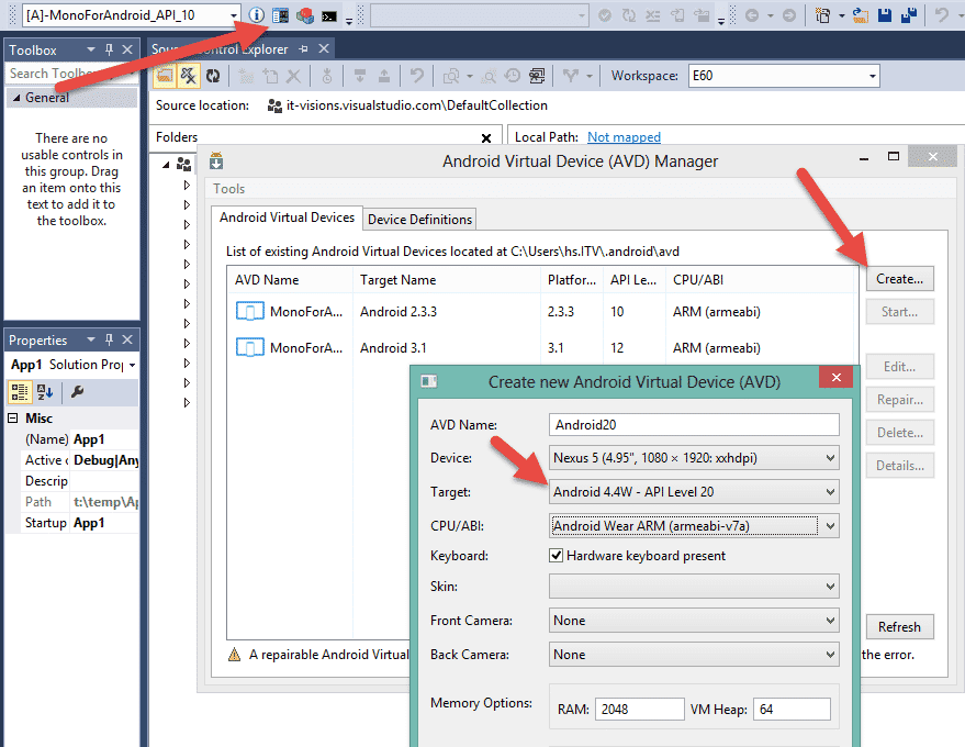 Konfiguration eines Emulators für API-Level 20 im Android Virtual Device Manager
