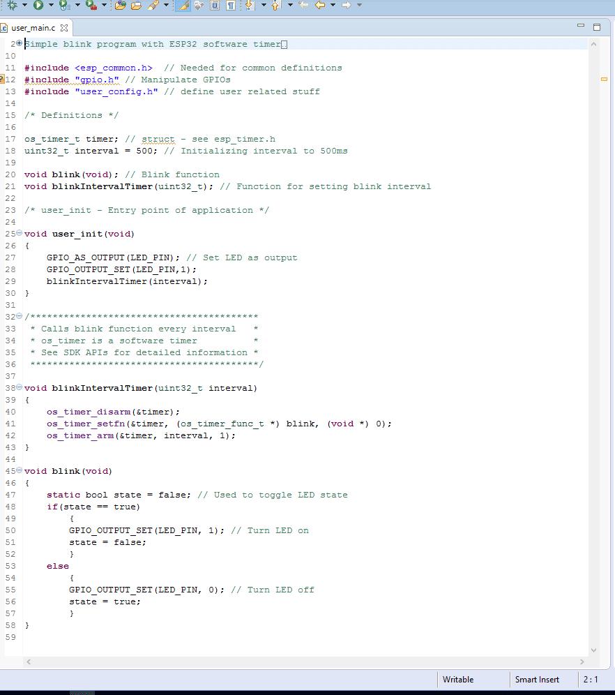 Programmcode für das Blink-Programm unter Eclipse