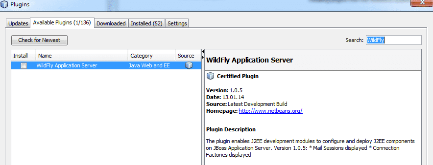 WildFly Plugin Suchen und Installieren