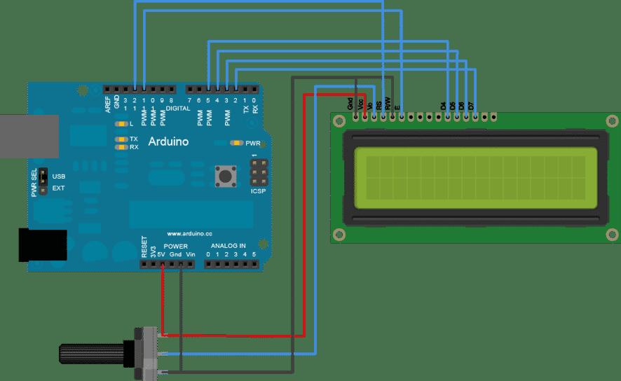 Anschluss eines 16x2-LCD-Displays an das Arduino-Board