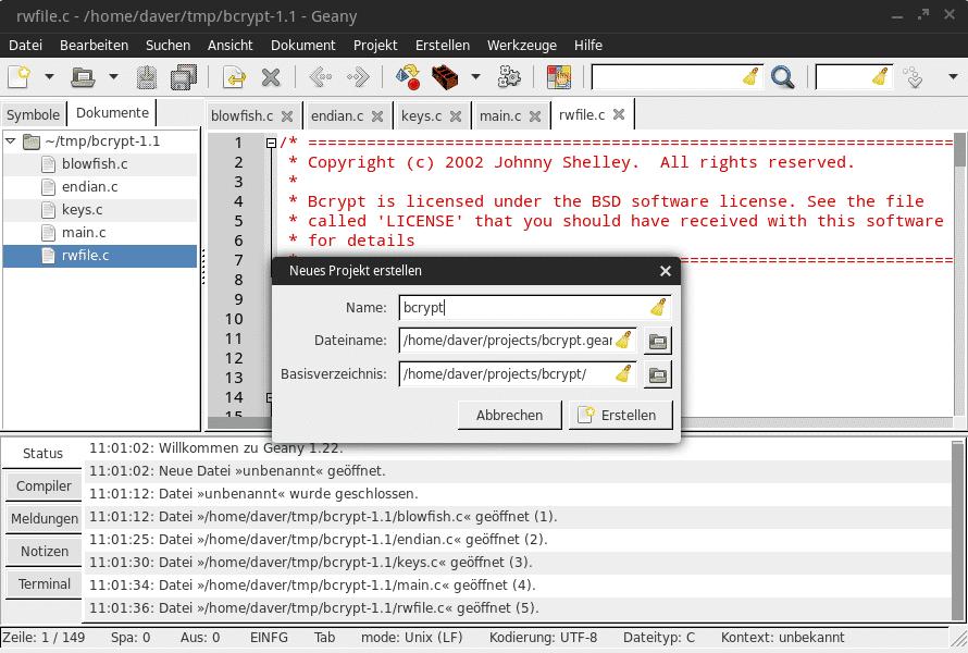 Das Projektmanagement von Geany ist simpel und fasst ein Set geöffneter Dateien zusammen.