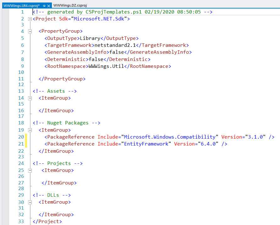 Migrationsscript für die Umstellung von .NET Framework auf .NET Core