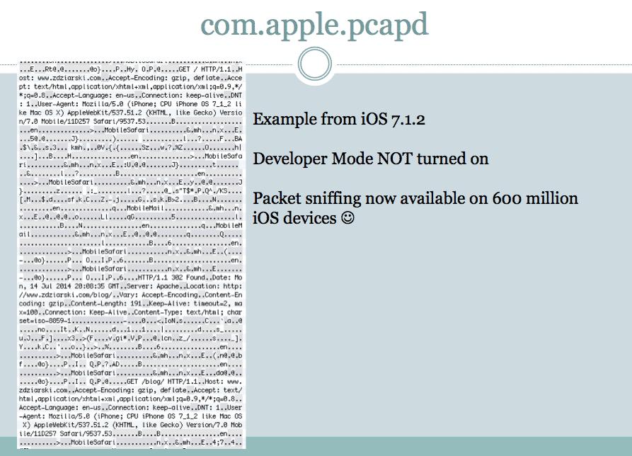 Der Sicherheitsforscher zeigte sich in seinem Vortrag verwundert über den Sniffer auf jedem iOS-Gerät