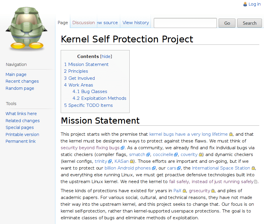 Kernel Self Protection Project