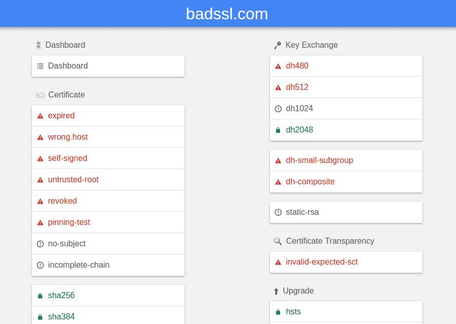 BadSSL.com liefert Web-Seiten, die bewusst Fehlermeldungen etwa zu ungültigen Zertifikaten erzeugen.