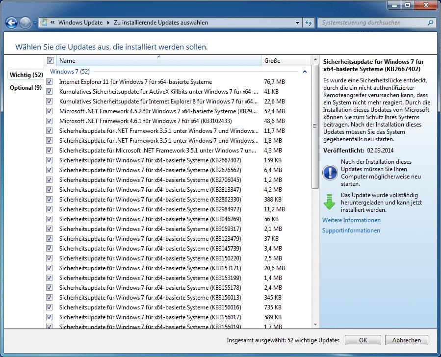 Nach der Installation des Convenience Rollup stehen durchaus noch ältere Sicherheits-Updates aus.